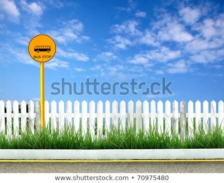 blanche · clôture · ciel · bleu · maison · maison · modèle - photo stock © inxti