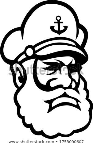 Sea Captain Old Sea Dog or Skipper Mascot Black and White Stock photo © patrimonio