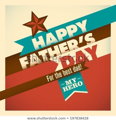 Szczęśliwy dzień ojca czerwony miłości relacja człowiek szczęśliwy Zdjęcia stock © SArts