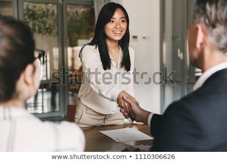 Interview baan vrouwen kandidaat sollicitatiegesprek uitleggen Stockfoto © snowing