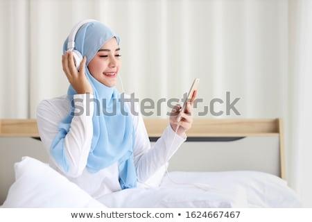 Szczęśliwy Muzułmanin dziewczyna piżama ilustracja uśmiech Zdjęcia stock © bluering