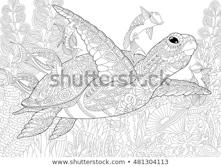 Sea life coloring book vector illustration © Sifis Diamantidis ...