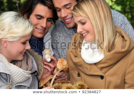 happy foursome of ramblers picking mushrooms in forest stock photo © photography33