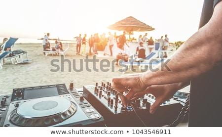 Plaj parti kadın su müzik adam Stok fotoğraf © Galyna