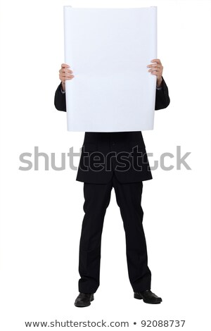 若い男 · 隠蔽 · 後ろ · ホワイトボード · 白 · 男 - ストックフォト © photography33