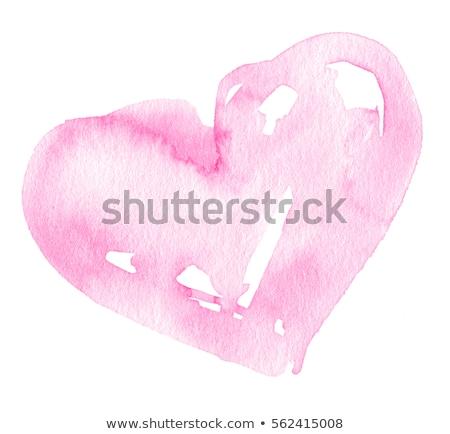Aquarela coração ilustração feito à mão vermelho cartaz Foto stock © Galyna