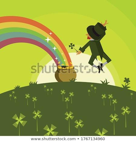 Leprechaun Jumping in Pot of Gold Coins Stock photo © indiwarm