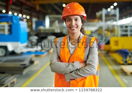 Keresztbe tett kar építkezés ipar munkás fehér néz Stock fotó © photography33