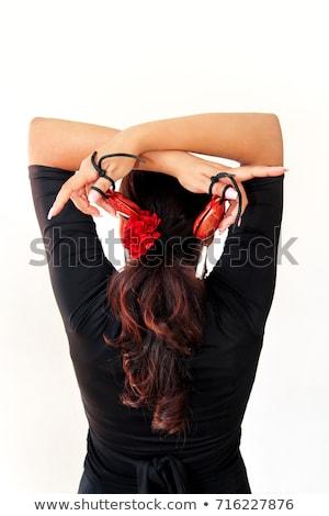 Çingene flamenko dansçı İspanya kız kırmızı gül Stok fotoğraf © lunamarina