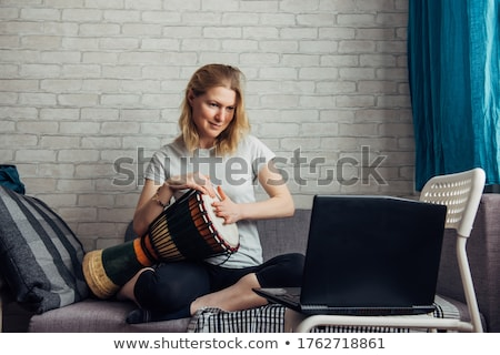 portrait of girl with djembe drum stock photo © photography33