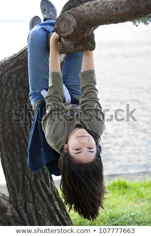 小さな 十代の少女 リラックス ツリー 肢 座って ストックフォト © jarenwicklund