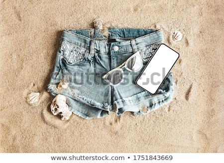 Stock fotó: Lány · farmer · rövidnadrág · fehér · szexi · divat