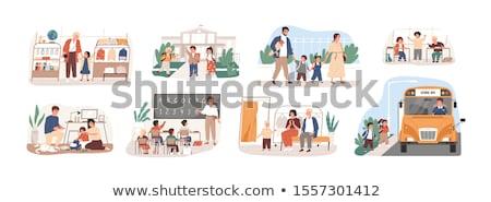 De volta à escola aluna estudante papel livro escolas Foto stock © carodi