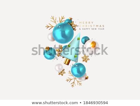 Kék hópehely karácsony golyók Stock fotó © komodoempire