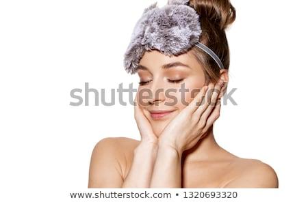Jovem beautiful girl topless cama sensual mão Foto stock © chocolatehouse