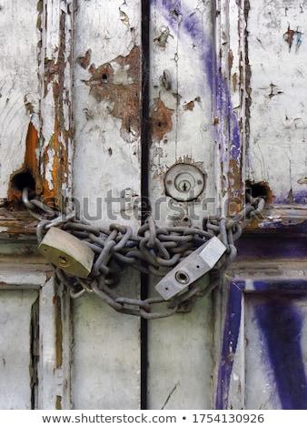 Graffiti bezpieczeństwa drzwi nielegalny wandalizm metal Zdjęcia stock © sumners