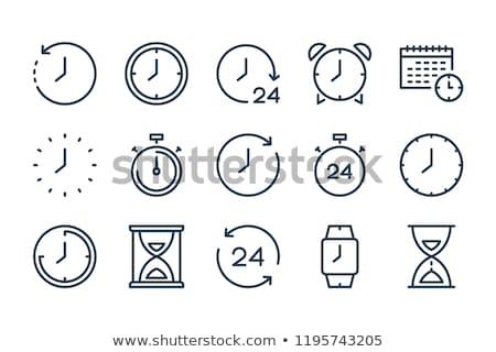 negen · aluminium · muur · klok · tijd · nummers - stockfoto © stocksnapper