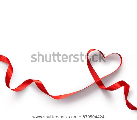 Red heart with ribbon on white satin Stock photo © jarenwicklund