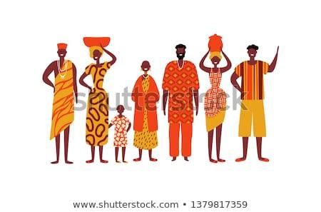 Afrika köy adam kadın manzara siyah Stok fotoğraf © dayzeren