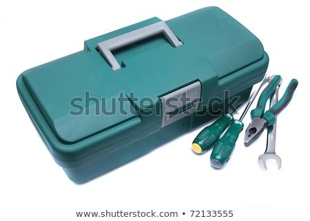 Verde caixa de ferramentas trabalhadores mão isolado computador Foto stock © shutswis