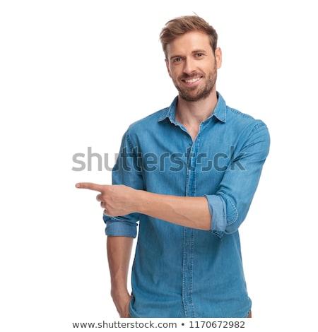 mosolyog · lezser · férfi · áll · bemutat · oldal - stock fotó © feedough