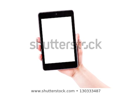 male hand holding a tablet pc with space for you text stock photo © len44ik