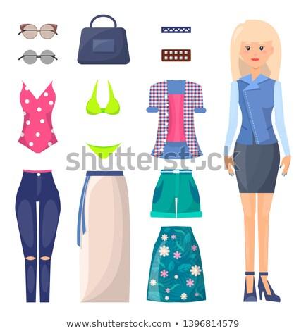 blond in denim skirt and bikini stock photo © dolgachov