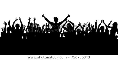 Stockfoto: Groot · menigte · mensen · silhouetten · partij · dansen