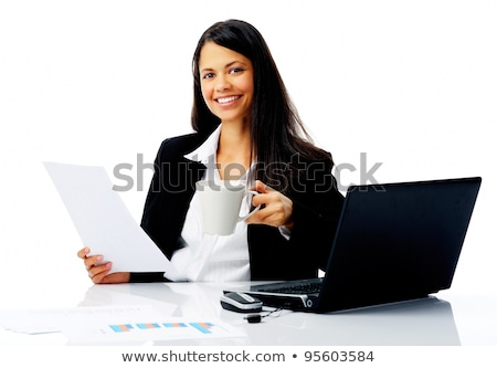 Attractive businesswoman reading paperwork while enjoying a cup of coffee Stock photo © Len44ik