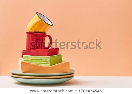 Stock photo: Yellow Childrens Mug And Plate