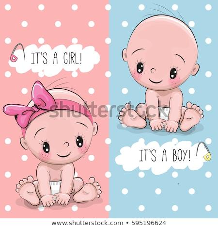 Baby jongen meisje vector cute douche Stockfoto © beaubelle