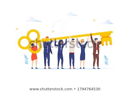 Stock fotó: Csapatmunka · arany · kulcs · fehér · 3d · render · üzlet