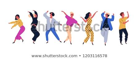 женщину · вентилятор · танцы · изолированный · белый · музыку - Сток-фото © elnur