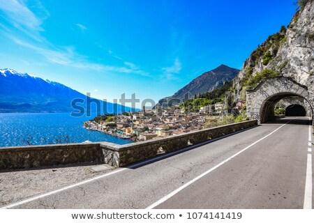 Garda gölü dağlar kasaba İtalya gökyüzü su Stok fotoğraf © anshar