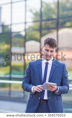 деловой · человек · столе · голову · таблице · служба · бизнесмен - Сток-фото © feedough