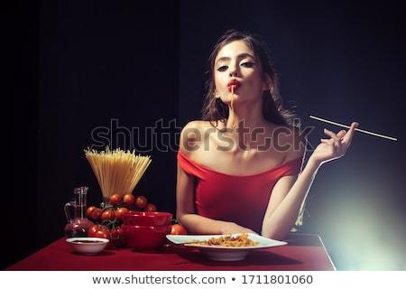 woman sucking spaghetti Stock photo © Rob_Stark