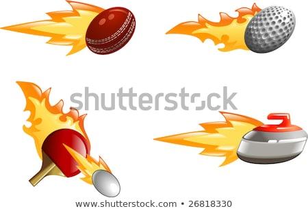пылающий пинг-понг Bat мяча иллюстрация огня Сток-фото © Krisdog