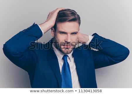üzletember · haj · közelkép · megjavít · üzlet · arc - stock fotó © jackethead