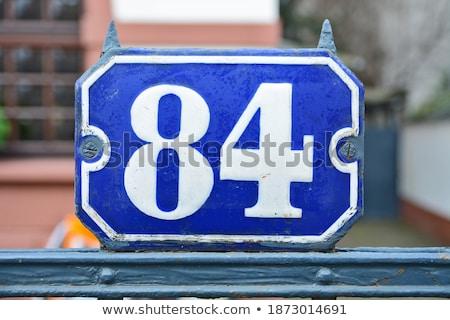 Metal número oitenta parede foco Foto stock © michaklootwijk