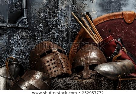 középkori · páncél · sisak · harcos · háború · sötét - stock fotó © nejron