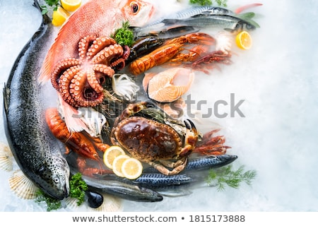 フライド · 魚 · 唐辛子 · ソース · 野菜 · 青 - ストックフォト © zhekos
