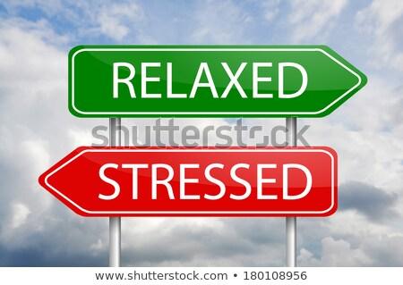 Stress Free Zone on Green Direction Sign - Arrow. Stock photo © tashatuvango