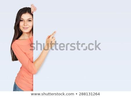 signo · personas · mujer · cartel · papel · anunciante - foto stock © dgilder