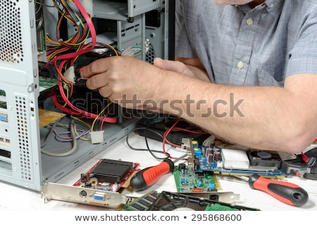 Számítógépjavítás közelkép különleges munka háttér áramkör Stock fotó © OleksandrO