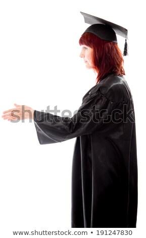 Maduro estudiante ofrecimiento mano apretón de manos mujer Foto stock © bmonteny