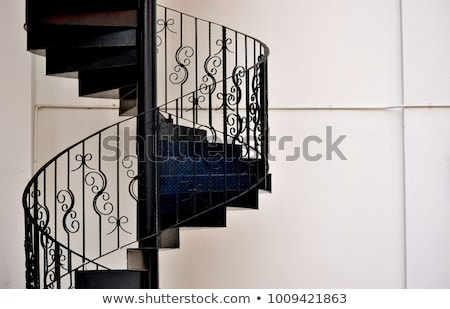 White iron steps of spiral staircase  Stock photo © nalinratphi