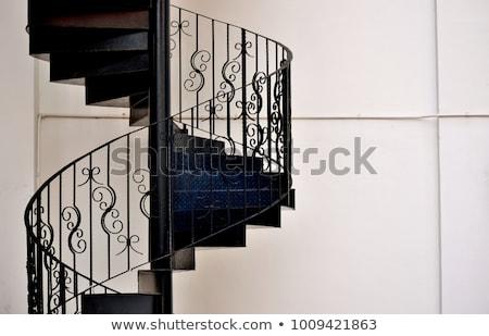 современных · винтовая · лестница · дизайна · архитектура · стали - Сток-фото © nalinratphi