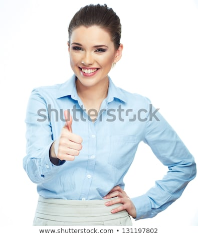 portrait of a young caucasian businesswoman with thumb up and aggressive air wearing a jacket and tr stock photo © ambro