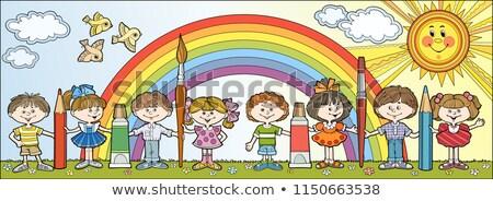 Pencils of rainbow colors in vector stock photo © aliaksandra