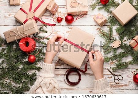 Ajándék csomagolás kockás arany szalag íj Stock fotó © oblachko
